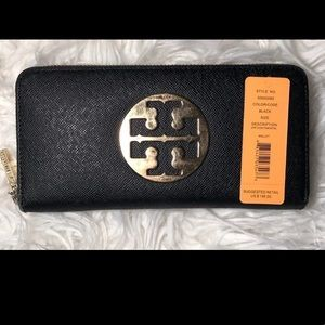 Tory Burch Zip Continental Black Wallet